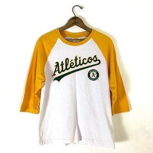 "Vintage ""Athetico's"" Unisex Gold Baseball Tee"